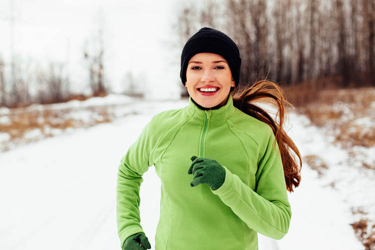Woman Running Winter