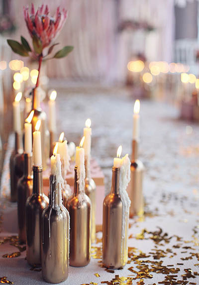 Wine bottles candles wedding ruffled