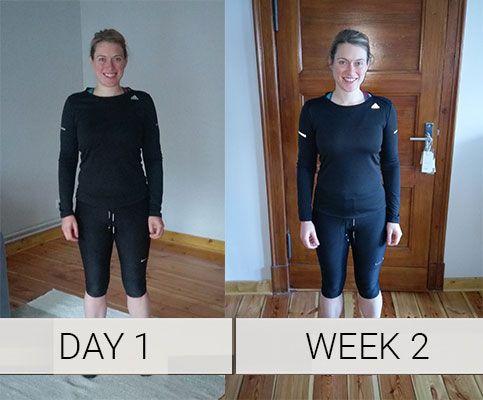 Laura before and 2 weeks in, MyProtein challenge