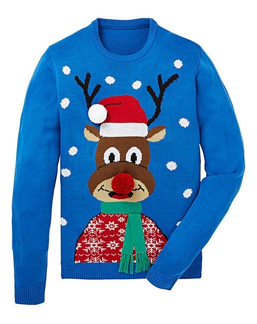 Label J Reindeer Christmas Jumper Jacamo
