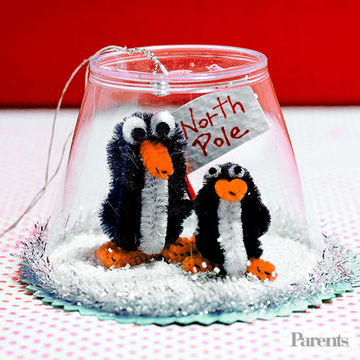 Family budgeting - get crafty with the kids to make Christmas presents, like this penguin snow globe